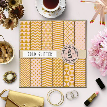 Gold Glitter Digital Paper Glitter Polkadot Chevron Stripes Scallop Pattern Shiny Glittered Pattern 12x12 Glitter Background Scrapbook Paper