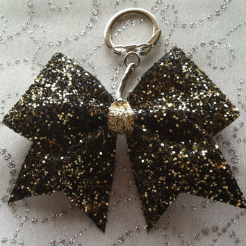 Cheer Bow Key Chain Black & Gold Glitter Explosion