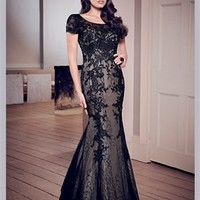 Black Mermaid Short Sleeves Applique Tulle 2013 Mother of the Bride Dress MBT113 -Shop offer 2013 wedding dresses,prom dresses,party dresses for girls on sale. #Category#