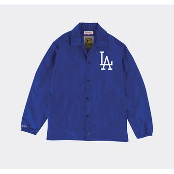 Mitchell & Ness Los Angeles Dodgers Mens Coaches Jacket in Blue