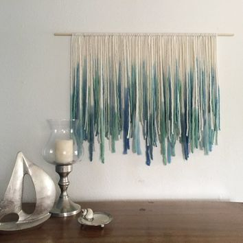Ocean-inspired Bohemian Yarn Wall Hanging, Macreme Wall Hanging, Dip Dyed Tapestry, Blue and Green, ocean wall art, ombre fiber art
