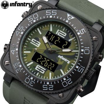INFANTRY Men Quartz Watches Luxury Brand Square Face Waterproof Analog Digital Watches Camo Green Rubber Strap Relojes Hombre