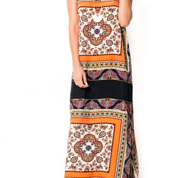 Eliza Bella Strappy Boho Beach Bandana Print Maxi Dress SML