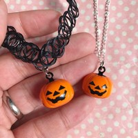 Pumpkin bell charm tattoo choker or necklace