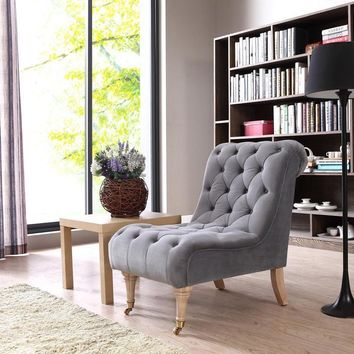 Divani Casa Phoebe Modern Grey Tufted Accent Chair
