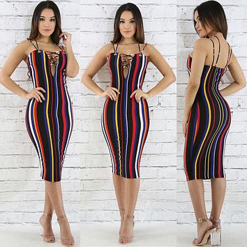 Sexy Women Summer Bandage Striped Dress Strap V-neck Rainbow Bodycon Evening Party Club Dress