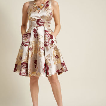 Jacquard Fit and Flare Dress with Pockets