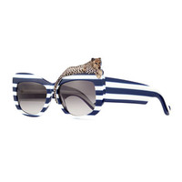 Anna-Karin Karlsson Rose et la Mer Stripe Sunglasses, Blue/White