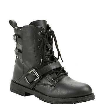 Black Single Buckle Low Combat Boots