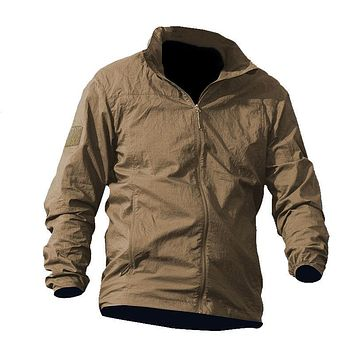 DAFEILI Summer thin Hooded Windbreaker Fast Dry Sun UV Protection Jacket Single Layer tactical men military army motorcycle