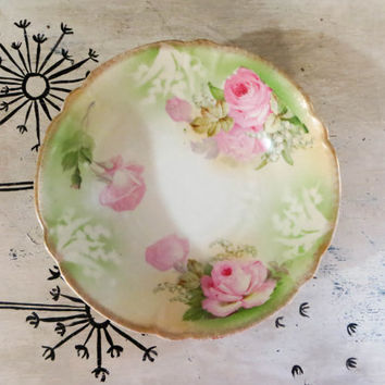 Antique Porcelain Bowl Germany Rose Bowl Serving Bowl Decorational Bowl Green and Pink Bowl R S Prussia Cottage Decor Shabby Roses