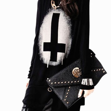 Black Inverted Cross Print Long Sleeve with Back High Slit Tunic Top