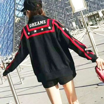 DCCKN6V Givenchy Fashion Casual Star  Print Side Stripe Long Sleeve Zipper Sweater G-AGG-CZDL