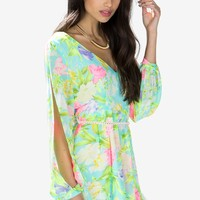Electric Bloom Floral Romper