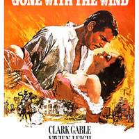 Gone With The Wind - Home Theater Decor - Classic Movie Romance Poster Print - 13x19 - Vintage Movie Poster - Clark Gable Vivien Leigh