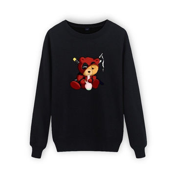 Deadpool/Smoking Teddy Design Sweatshirt