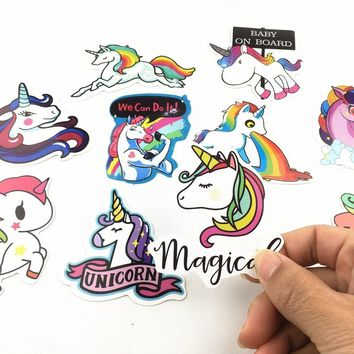 20Pcs Cartoon Cute Unicorn DIY Window Car Sticker Waterproof Horse for Computer Personalized Suitcase Guitar Notebook Funny Hip