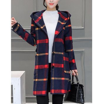 England Preppy style elegant women autumn winter fashion wool long coat plaid hooded warm casual loose femme wool&blends outwear