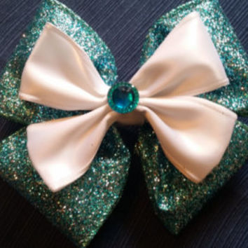 Teal and White Glitter Bow