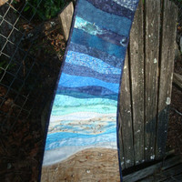 Beach Scene Fiber Art Wallhanging OOAK