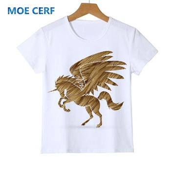 New Arrival Unicorn horse child shirt casual top tees cool kid t shirt Flying Horse Boy Girl  brand Clothes Baby t-shirt Y14-17