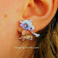 Cubone  Pokemon Clinging earrings Handmade kawaii gamer two part front and back post earrings