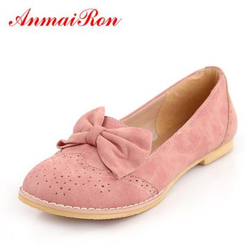 ANMAIRON New Cute Bow Flats Shoes Women Fashion Women Casual Ladies Shoes Size 43 Pink Blue Beige Ballet Shoes Woman Girl Shoes