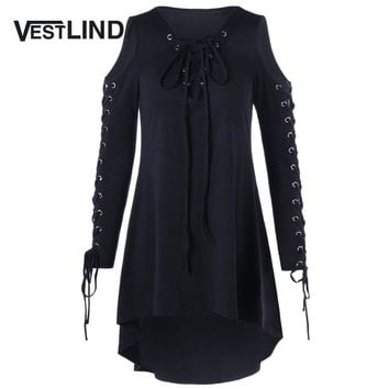 VESTLINDA Plus Size XL-5XL Lace Up Cold Shoulder High Low Midi Dress Women Autumn 2017 Casual Long Sleeve Solid Color Vestidos