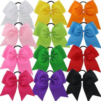 7.5in Larger Jumbo Goody Cheer Bows Hair Ties Cheerleading Pony Tail Holder Elastic Head Loop For Girls Uniform Infant Accessories 12 Color Set