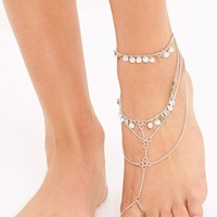 Delores Silver Sequin Footchain