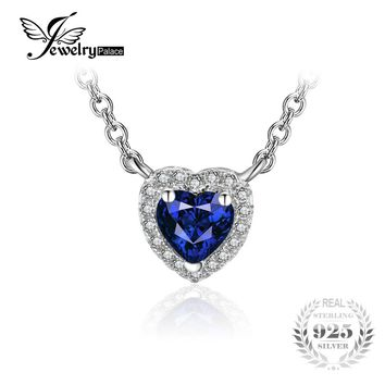 JewelryPalace Heart Of The Ocean 0.6ct Created Blue Sapphire 925 Sterling Silver Solitaire Pendant Necklace 45cm Chain 2016