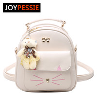 JOYPESSIE Girls PU Leather Small Backpack Women Back Pack Bag Japan Korea Teenage Student School Travel Bagpack