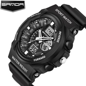 New Sport Waterproof Mens LCD Digital Analog Quartz Date Alarm Wrist Watch Descr
