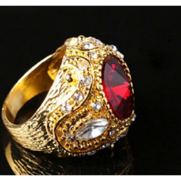 Men's Vintage Luxury Big Red Resin Crown Gold Plated Alloy Ring