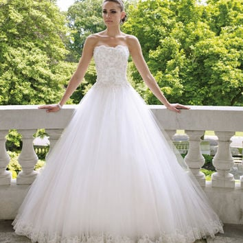 A Line Beaded Applique Long white Ivory Tulle wedding dresses stock Plus size 6 8 10 12 14 16 18 20 22