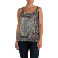 Belle du Jour Womens Juniors Racerback Printed Tank Top