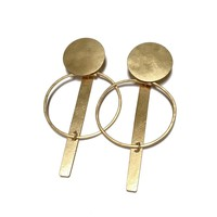 Annie Costello Brown Krikoi Hoop Earrings - Gold Hand Cut Earrings