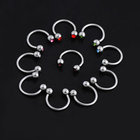 BDJ036 1.2*8mm 3mm Stainless Steel C-Type Horseshoe Nose Ring Lip Nose Ring Eyebrow Septum Piercing Body Indian Jewelry