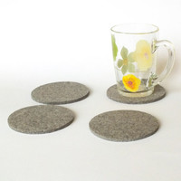 Round Gray Melange Coasters. Set Of 4 Natural Drink Coasters Made Of Merino Wooll Felt. Beer Coasters, Eco-Friendly Party Decoration