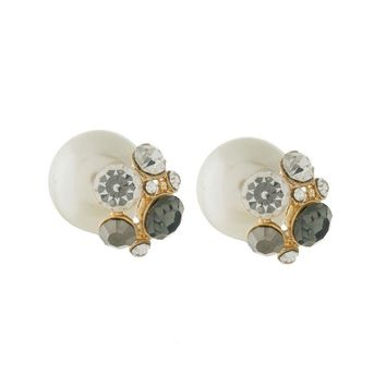 Double Sided Front-Back Pearl with Gray Rhinestone Stud Earrings