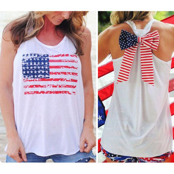 NEW Summer Sexy Women Sleeveless Tops American USA Flag Print Stripes bow-knot Tank Top for Woman Blouse Vest Shirt O neck Y3
