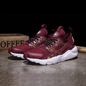 Sale LV x Supreme x Nike Air Huarache Custom Red White Sport Run 194033dbd353