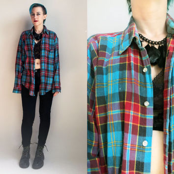 90s Clothes/ 1990's Flannel Shirt Vintage Grunge Shirt Blue and Red Plaid Button Up Long Sleeve Shirt Men's Size Large Unisex
