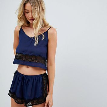 Wolf & Whistle Navy Cami and Short Pyjama Set at asos.com