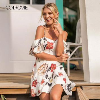COLROVIE Random Floral Ruffle Boho Dress 2018 New Summer Short Sleeve Sheath Short Beach Sexy Dress A Line Vacation Female Dress