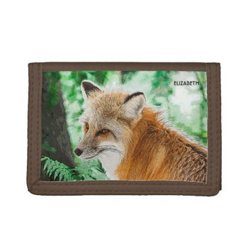 Cute Wild Red Fox Drawing Tri-fold Wallets