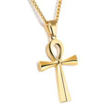 Steel / Black / Gold Cross Pendant Men's Chain Necklace