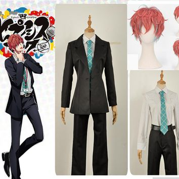 Cool Games Voice Actor Doppo Kannonzaka Cosplay Costume Custom Black Jacket Uniform Suits Green Tie Shirt Long Pants Coral Curly WigAT_93_12