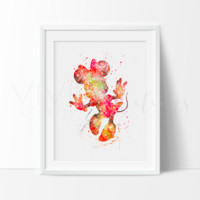 Minnie Mouse 2 Watercolor Art Print