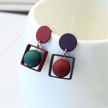 CREYLD1 2018 New Fashion Hollow Square Pentagram Round Earrings Brincos Oorbellen Simple Mixed colors Ball Drop Earrings Women Jewelry